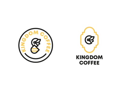 Kingdom Coffee logo yellow type shield knight icon vector coffee kingdom brand