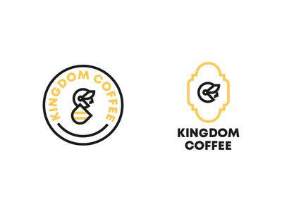 Kingdom Coffee logo yellow type shield knight icon vector coffee kingdom brand