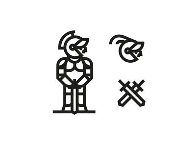 Medieval Knight shield armor helmet design cartoon logo brand illustration knight