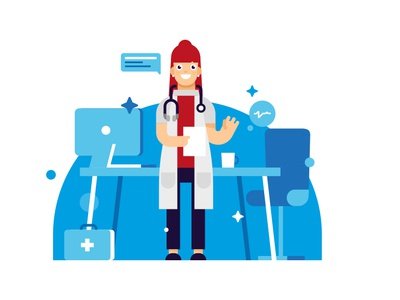 Character design animation motion logo flat vector brand illustration medical care draw character