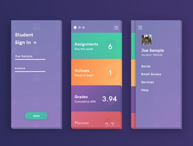 Educational Portal - Mobile UI Intro (3 screens)