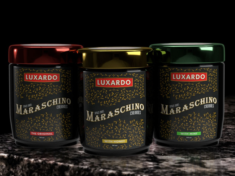 Luxardo Packaging Design & Flavor Concept rendering 3d gold inspired victorian flavors maraschino original luxardo design packaging product