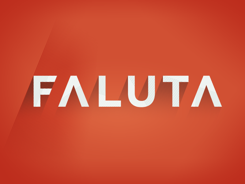 Faluta logo flat long-shadow logo currency creatives time valuta red wordmark money shading freelancers
