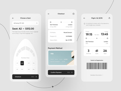 Air Ticket App airline boarding airport plane ticket air ticket app design mobile app mobile interface design app ui application design mobile ui iphone app concept ux ui