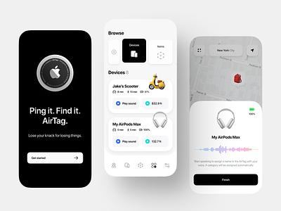 AirTag App Concept concept app iphone ios app ui application design mobile app mobile ui mobile application lifestyle apple app concept airtag app design app interface design ui ux concept