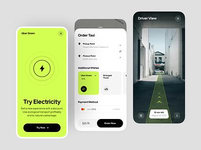 Uber Green App Concept Design map location app taxi ui taxi app taxi taxi booking app taxi booking ride uber uber app booking taxi driver electric vehicles app app design interface design ux ui concept
