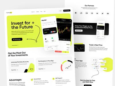 Profinance Landing Page Design market stock market investment investment app investments service fintech financial user interface finance finances landing landing page interface ui design ux concept