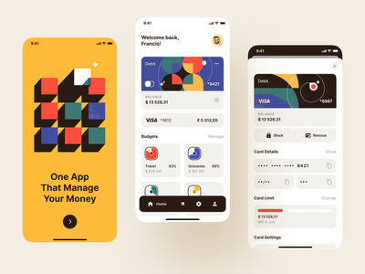 Fintech App Concept banking debit card credit card bank card online bank finance app mobile banking management app money app retro-style management finance bank fintech app app design design ui ux concept