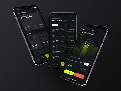 Cryptocurrency Exchange App user interface app ui mobile ui crypto mobile mobile app application crypto app analytics dark theme trading app app app design exchange cryptocurrency interface design ux ui concept