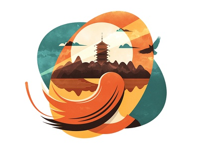 Pagoda in the sunset   雷峰夕照 illustration design vector flat fourchars chinese idiom chineseidiom china scenery hiwow