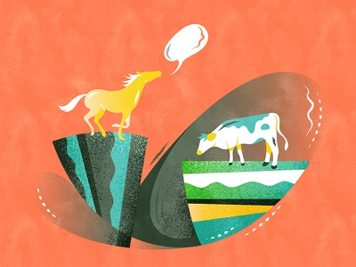 The lost cattle | 风马牛不相及 illustration design vector flat fourchars chinese idiom chineseidiom cow horse hiwow