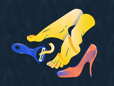 Trim the feet to fit the shoes   削足适履 illustration design vector flat fourchars chinese idiom chineseidiom feet shoes hiwow