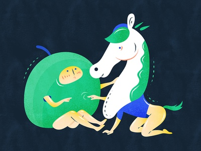 Childhood sweetheart | 青梅竹马 illustration design vector flat fourchars chinese idiom chineseidiom friendship horse hiwow