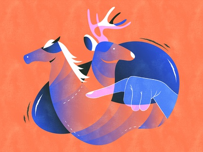 Horse or deer? | 指鹿为马 illustration design vector flat fourchars chinese idiom chineseidiom deer horse hiwow