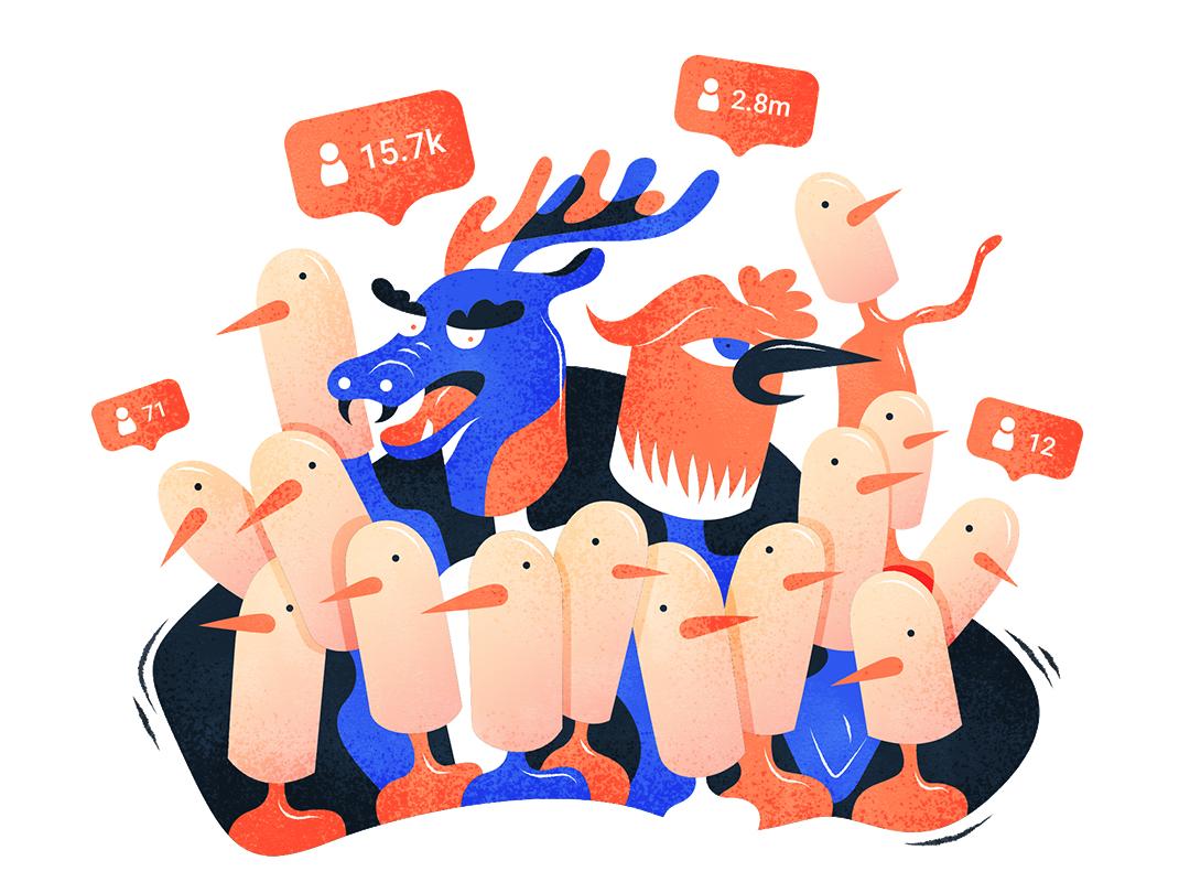 The Internet famous | 人中龙凤 illustration design vector flat fourchars chinese idiom chineseidiom birds dragon hiwow