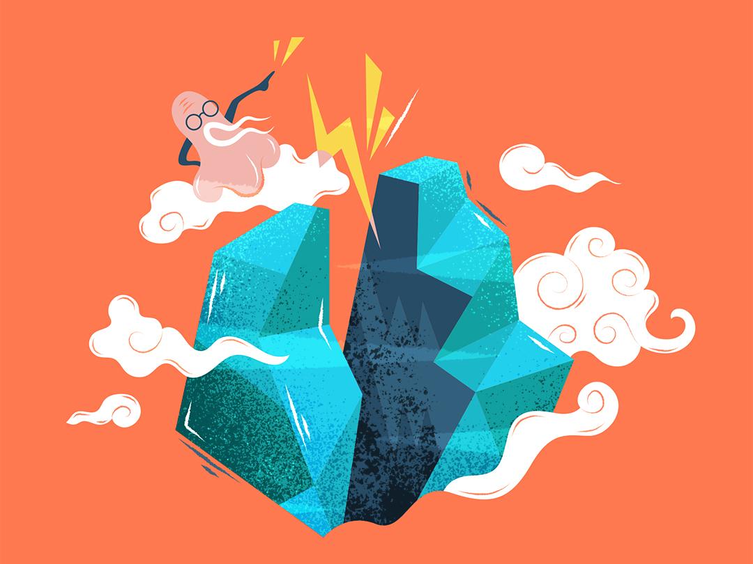Grandpa Nose   开山鼻祖 illustration design vector flat fourchars chinese idiom chineseidiom mountain nose hiwow