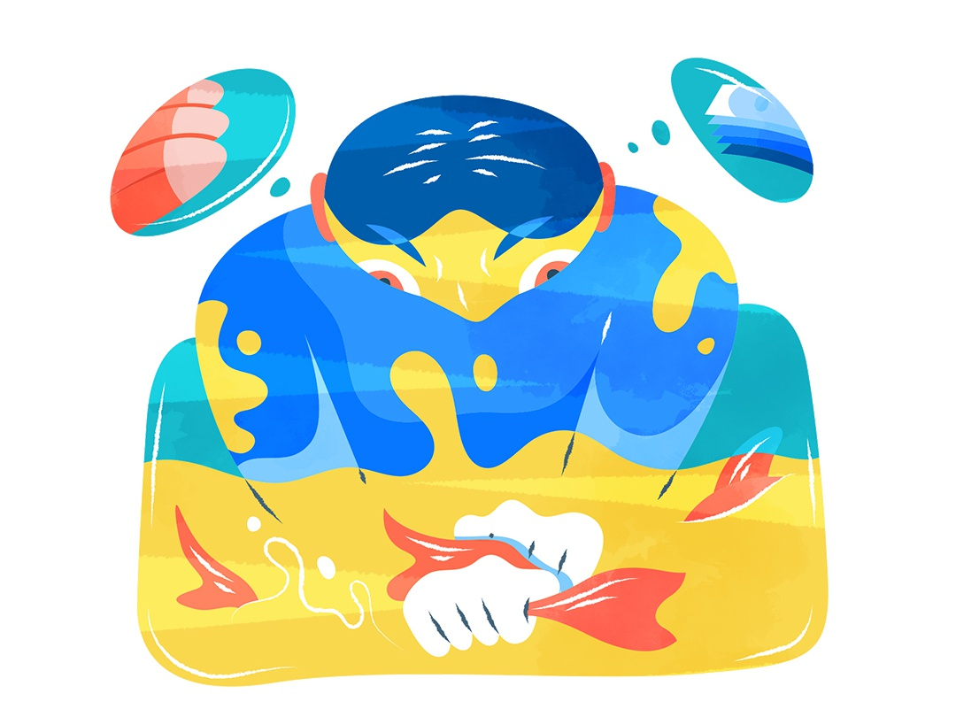 Make a profit in troubled situation  |  浑水摸鱼 illustration design vector flat fourchars chinese idiom fish money nose hiwow