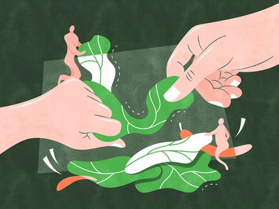 Hand-torn Cabbage | 手撕包菜 illustration design vector flat fourchars chinese idiom cabbage food vegetables hiwow