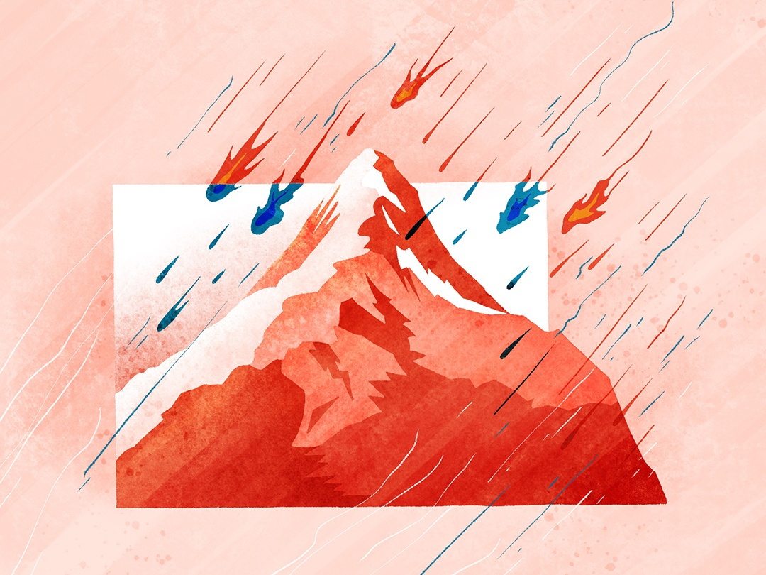 Raining fires in the sky meteor paramount mountains idiom chinese flat vector illustration fourchars design