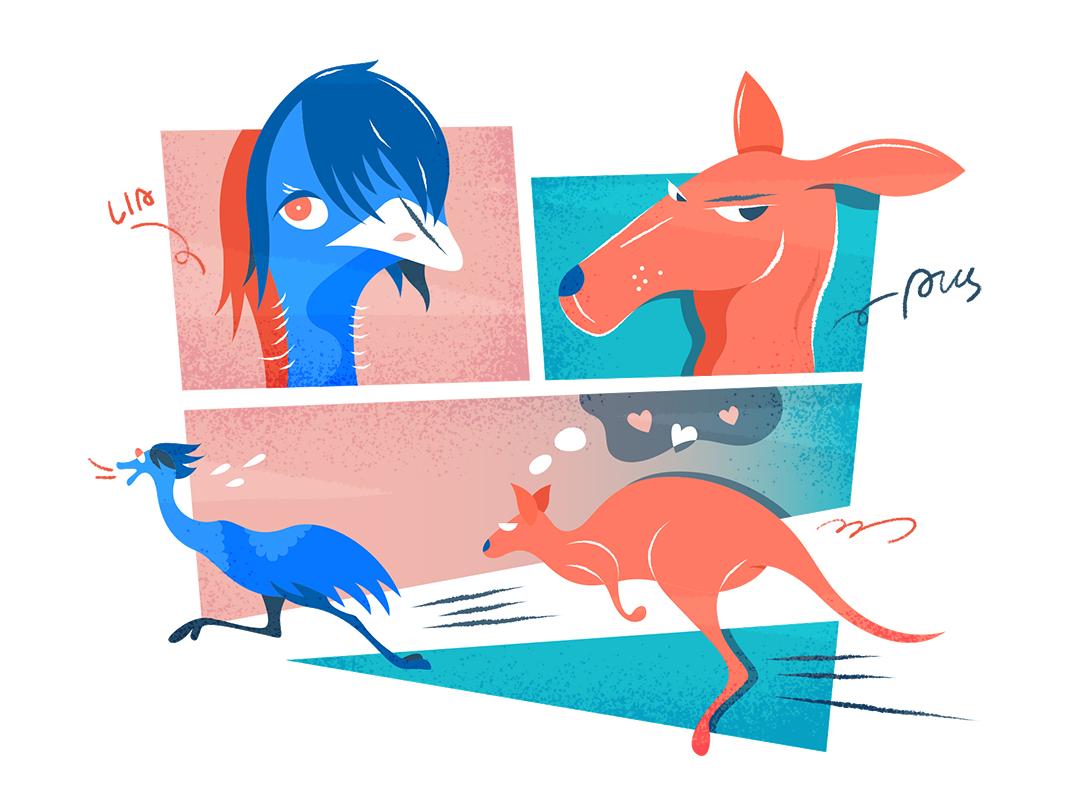 """Australia""   澳大利亚 illustration design vector flat fourchars chinese idiom kangaroo emu australia hiwow"