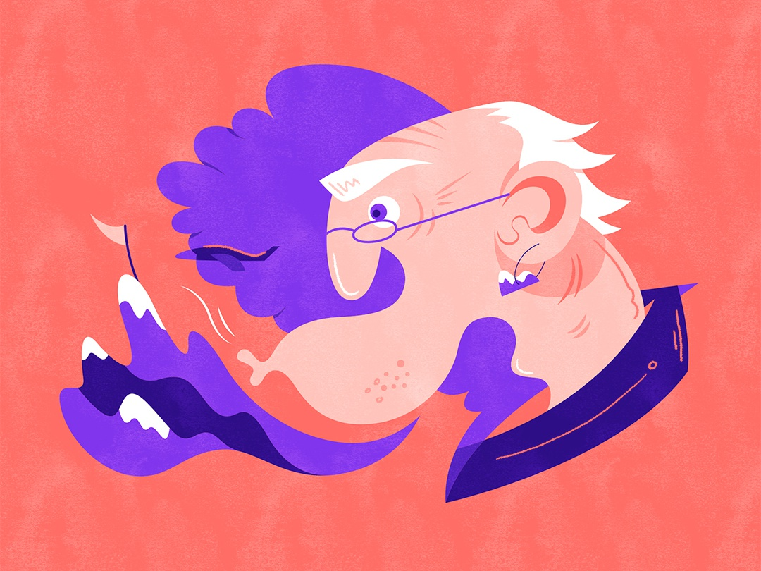 Blowing a mountain   愚公移山 illustration design vector flat fourchars chinese idiom wind mountain grandpa hiwow