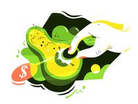 'Guacamole' | 刮卡谋利 illustration design vector flat fourchars chinese idiom cute guacamole avocado hiwow