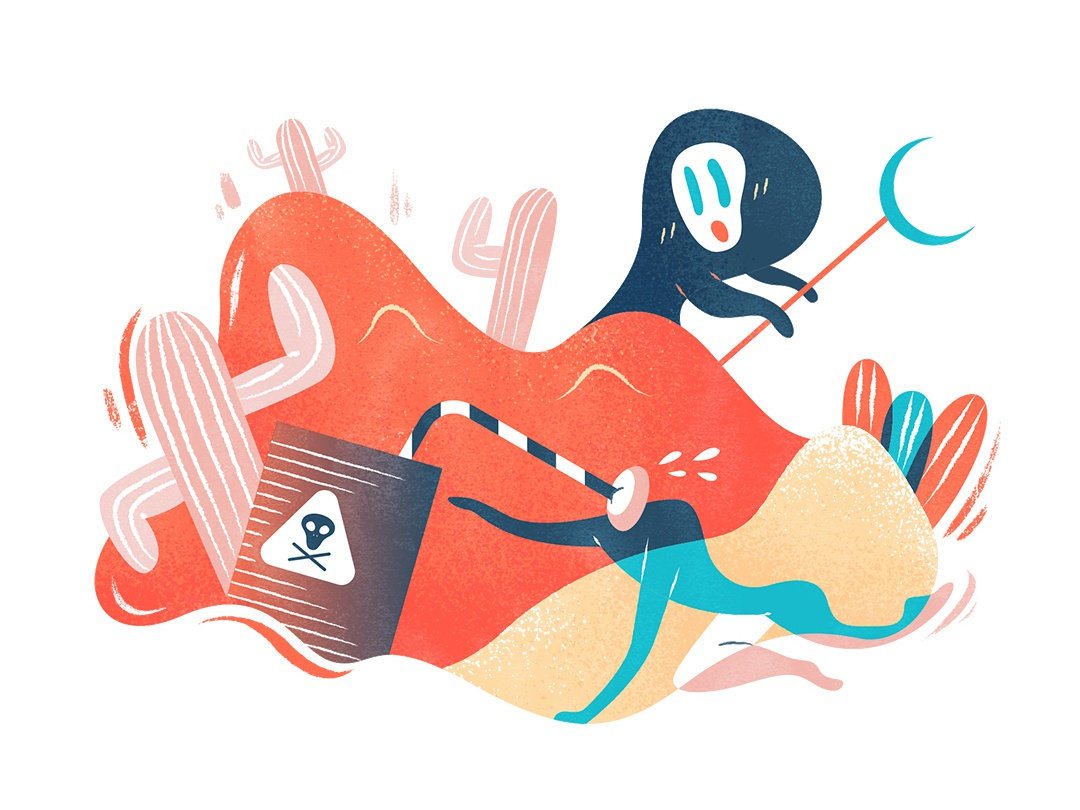 Poisonous drink | 饮鸩止渴 illustration design vector flat fourchars chinese idiom desert bird poison hiwow