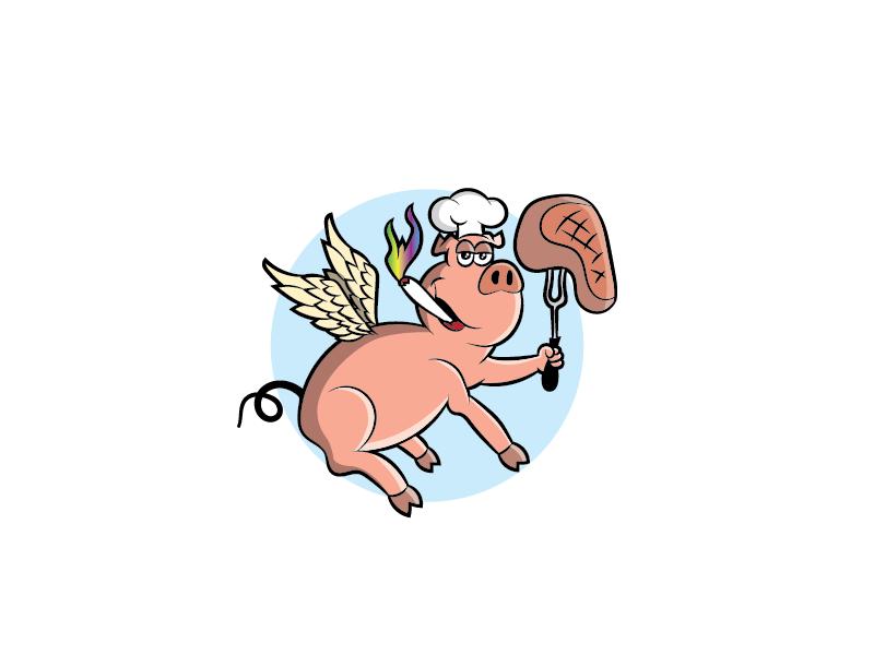 High BBQ Pig stake joint chef fun character mascot cartoon wings high bbq pig