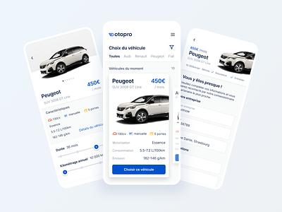Otopro App clean ui minimal vehicule clean ui app figma automobile mobile app design mobile ui app concept swipe tinder car mobile app