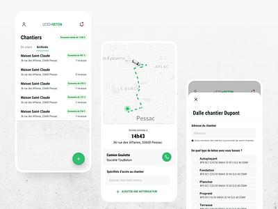LessBeton - Mobile App figma uidesign mobile ui design mobile app design delivery concrete uber green mobile ui mobile app clean ui