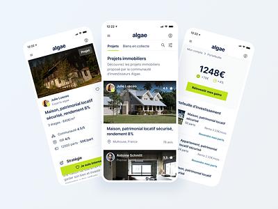 Algae - Mobile app investment green bootnow uiux productdesign mobile app app design app rent renting real estate minimal ui clean ui clean ui design ui design