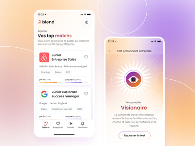 Blend - Mobile app personnality test background art clean ui app mobile apps mobile app ui uiux bootnow startups job board job gradient colorfull ui design