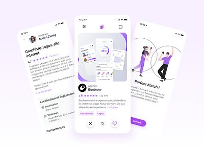 Perfect match - Mobile App purple clean minimal freelance job board match swipe tinder uiux ui design bootnow startup application clean design uidesign mobile apps mobile app ui