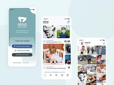 Aloa - Memory box children baby koala freelance design mobile application app mobile mobile app design mobile apps minimal design clean design startup bootnow pictures family mobile app ui design ui