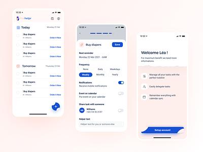 The helper - mobile app baby babies tasks tracking track parents startup bootnow check todo todolist uiux ui ui designs ui design mobile app