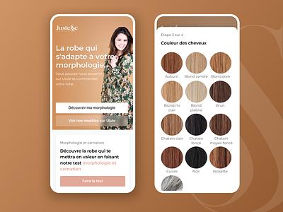 Justesse - Lead form brown startup ui mobile ui designs lead capture bootnow hair form lead generation ui design website design clothes lead page lead gen