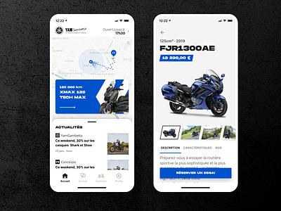 Concessio - Mobile App blue uiux card product card map product page mobile app ui design bootnow app design clean ui motorcycle moto mobile ui