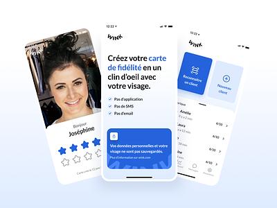 Wink - Mobile App minimal clean figma startup gradient ux ui ui ux wink facial recognition business fidelity blue bootnow concept mobile app