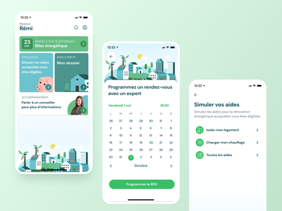 Greener mobile App product design uxui ux clean design illustration energy ecology green app design mobile app
