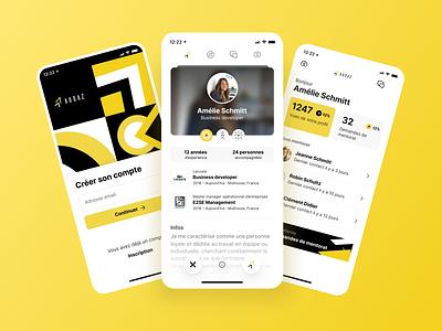 Audaz - Mobile App startup minimal figma business tinder swipe hiring black yellow clean interface uxui ui ux bootnow mobile app design mobile app