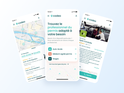Codeo - Mobile web app map blue bootnow startup green mobile app web app uiux ui mobile