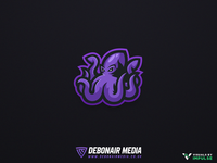 Purple Squid Mascot Logo