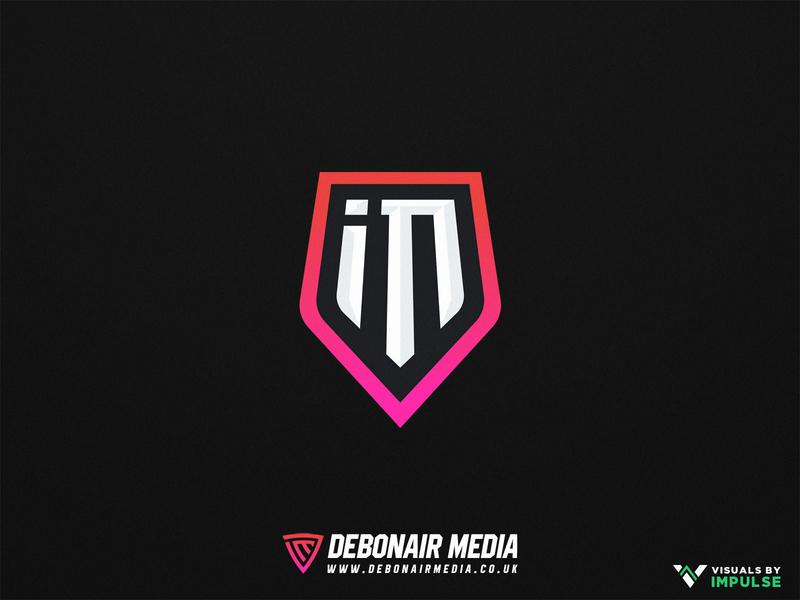 iM Shield Logo Design text logo branding vector icon illustration typography purple design logo coral salmon orange pink gaming logo esports logo esports