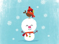 snowman & little birdy friend
