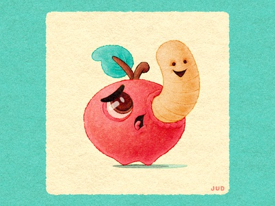 NYC Apple and Worm procreate cuteart cute jud lively childrens book illustration funny logo branding design texture worm apple new york nyc illustration