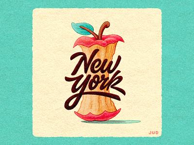 NYC Apple Core Lettering logotype customtype typography cute cartoon editorial illustration fun script procreate jud lively illustration texture apple core apple hand lettering handlettering lettering new york city new york
