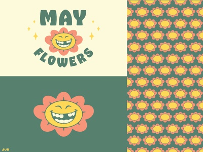 April Showers May Flowers - MAY smile badge vintage retro pattern flower smiling tooth flowers jud lively may cute illustrator branding design icon logo vector typography illustration