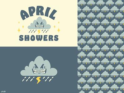 April Showers May Flowers - APRIL fun jud lively icon design badge design badge graphic design pattern lightning bolt storm april cartoon clouds rainy illustrator branding icon logo vector typography illustration
