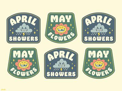 April Showers May Flowers - Badges rain flowers illustrator cute cartoon may april logo design logo badge logo badge design badge patch design patches icon branding vector typography illustration