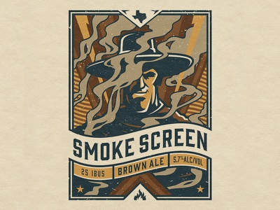 UABC Smoke Screen Brown Ale duel smoking texas western cowboy gun slinger smoke ale brewery brewing design illustrator branding beer package design logo craft beer vector typography illustration